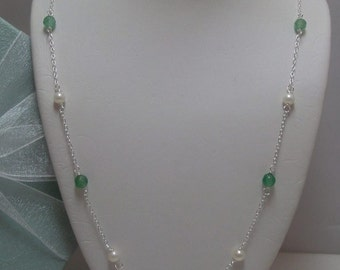 Genuine Emerald and Genuine Seed Pearl Necklace