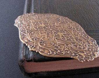 Large filigree antiqued brass stamping
