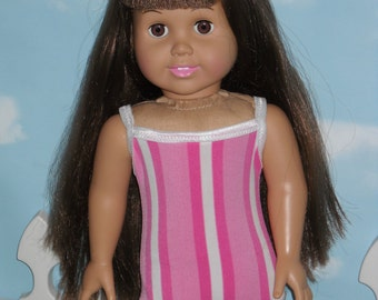 American Girl 18 inch Doll Bathing Suit  Handmade Pink and White Stripes