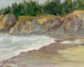 Beach Landscape Colorful Seascape Painting 5 x 7 Rocks Trees Sand Surf Original Art by K. Joann Russell