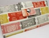 Handmade vegan Long Wallet  BiFold Clutch -  Theater Tickets wallet
