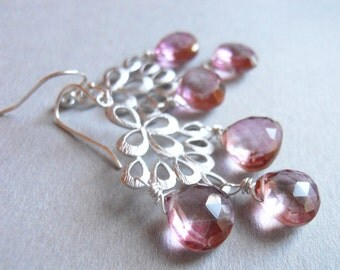 Mystic pink earrings, Mystic Pink Quartz, Matte Silver Chandelier Earrings , Orient Collection, pink earrings, pink quartz earrings,
