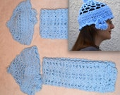 Crochet Hat and Scarf Set in 5 Colors