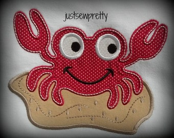 Boy Crab Embroidery Applique Design