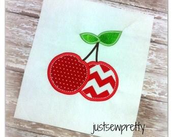 Cherry Duo Cherries Embroidery Applique Design