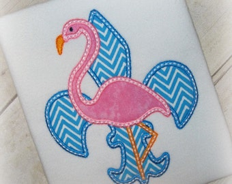 Fleur De Lis Flamingo Summer Embroidery Applique Design