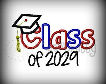 Class of 2029 Graduate Embroidery Applique Design