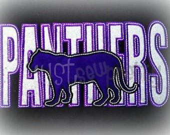 Panthers Sillouette Embroidery Applique Design