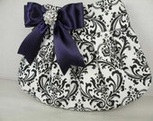 Pleated Clutch/Evening Bag/Purse/Wedding --MADISON Damask-Black and White with Deep Purple Satin Bow and Crystal