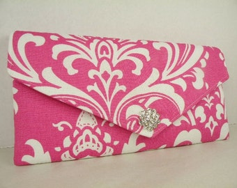 Envelope Clutch/Purse/Wedding/Bridesmaid Gift--Candy Pink-Hot Pink & White-OZBORNE Damask with Crystal