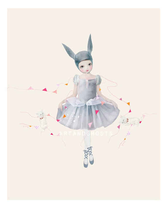 Anthro art, cute art, nursery art, ballerina, home decor, wall art, archival print, digital painting, ballet painting, rabbit ears, bunny.