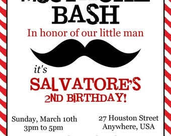 MUSTACHE Bash Birthday Invitation, Little Man Mustache Birthday