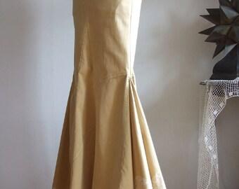 Sand yellow denim skirt, long denim boho skirt, denim and lace skirt, flattering sport skirt, prairie skirt, one of a kind urban romantic