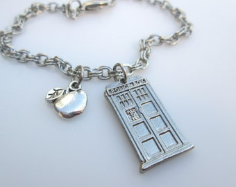 Dr Who Tardis Inspired Bracelet with Apple Charm Accent