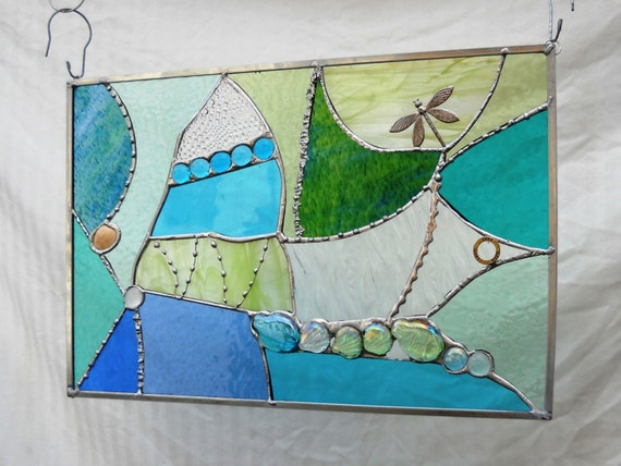 Stained Glass Panel Crazy Quilt in Sea Colors of Aqua, Teal, Green, Blue, Aquamarine