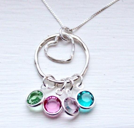 Birthstone Necklace, Family Birthstone Necklace, Birthstone Jewelry ...