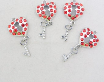 Set of 4 Silver-tone Red Rhinestones Heart Lock and Key Charms