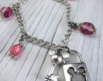 Mickey Mouse Bracelet, Silver Lock and Key Charm, Young Girls Jewelry - Disney by SusanHeleneDesigns