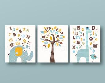 Orange and blue nursery baby boy nursery nursery wall art alphabet giraffe numbers elephant bird tree set of three prints J'Apprends