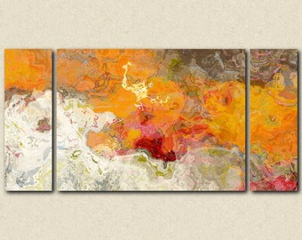 "Abstract expressionism canvas print, 30x60 to 40x78 triptych with gallery wrap in orange and red, from abstract painting ""Summer Love"""