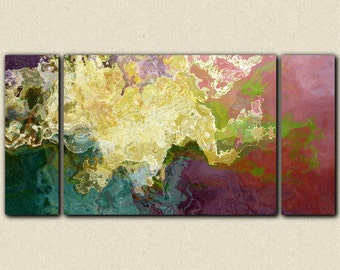 "Abstract art oversize triptych stretched canvas print, 30x60 to 40x78, in teal, mauve and cream, from abstract painting ""Hope"""