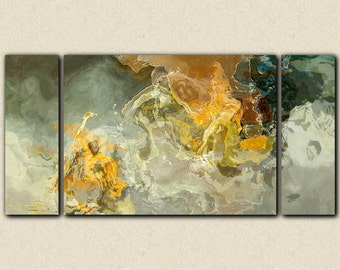 "Oversize triptych abstract art canvas print, 30x60 to 40x78 on stretched canvas, in earth tones, from abstract painting ""Dedicated"""