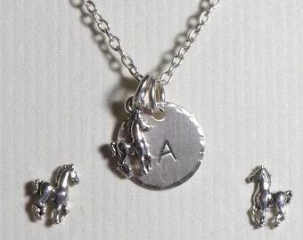 Horse Jewelry, Horse Hand Stamped Sterling Silver Petite Initial Charm Necklace and Post Earring Jewelry Set,  Personalized Horse Jewelry