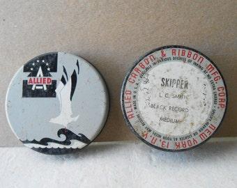 shabby allied typewriter tin ribbon art deco sea gull bird ocean grey black white antique vintage 1940s tin