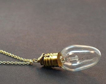 Steampunk Necklace- Brass Upcycled Light Bulb Jewelry, Steampunk Jewelry, Lightbulb Necklace, Light Bulb Necklace, Gift Idea