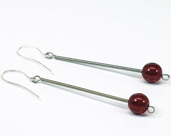 Guitar String Earrings- Garnet Red Drop Upcycled Guitar String Jewelry, Guitar Player Gift, Modern Minimal Jewelry, Music Jewelry