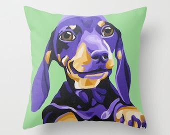 "16x16"" Throw Pillow Cover featuring an adorable Dachshund portrait"