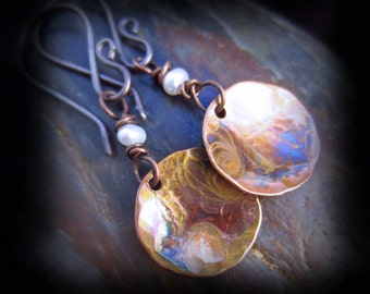 Copper Patina Earrings Flame Patinaed Hammered Copper Earrings with Wire Wrapped Pearls on Antiqued Sterling Silver Earwires - ARTSY DROP