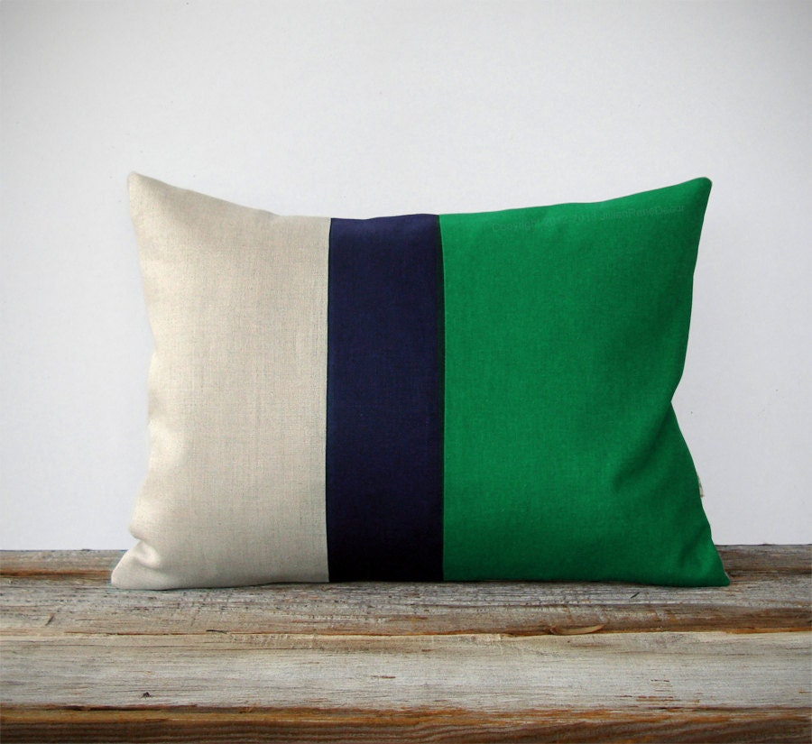 Color Block Stripe Pillow in Kelly Green Navy and Linen by
