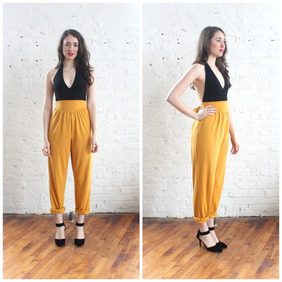 80s mustard harem pants / 1980s high waist harem pants (s/m-m)