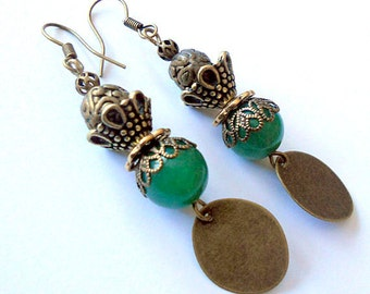 Gypsy earrings, antiqued brass earrings, green jade earrings, gypsy rustic jewelry