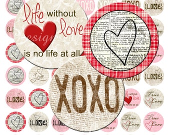 Instant Download - Vintage Love (1.5 Inch Round) 38 mm Bottlecap Images Digital Collage Sheet printable stickers love life engagement craft