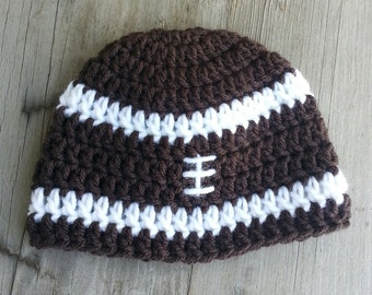 Baby Boy Crochet football design hat.   chocolate brown and white.  0-3months