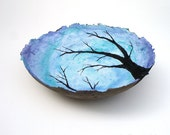cerulean breeze, decorative landscape handmade paper bowl, large size