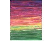 majestic magenta sunshine, an original 8X10 abstract acrylic painting by Sarah Knight, purple pink yellow green color