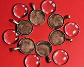 18 copper pendant bezels with 25 mm glass cabs clay glass resin steampunk victorian photo art stones bezel