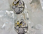 Gold  or Silver mens cufflinks watch parts movement recycled steampunk rare vintage with rubies created in Michigan