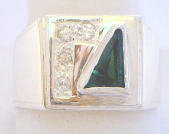 Green Tourmaline and White Sapphire Handmade Sterling Silver Gents Ring size 9