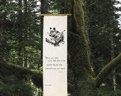 Grizzly Bear Cub - Silk Garden Scroll banner wedding gift Spring gift