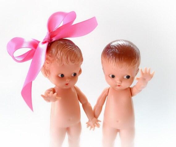 Vintage Knickerbocker Kewpie Doll Pair Girl  Boy Toy No 700-8417
