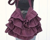 Purple Diaper Bag - Ruffled with Cross body adjustable strap - Handmade