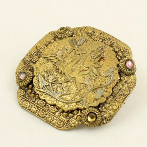 art deco czech crane brooch bird pin gold brass rhinestones. Black Bedroom Furniture Sets. Home Design Ideas