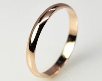 14K Rose Gold 3mm by 1mm Half Round Classic Style Wedding Band, Unisex Recycled Gold Ring, Sea Babe Jewelry
