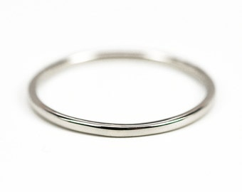 Skinny White Gold Ring, 1mm 14K Palladium White Gold Wedding Band, Eco Friendly, Sea Babe Jewelry