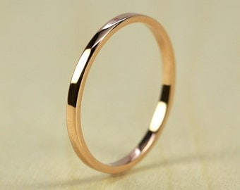 Rose Gold Wedding Band, Skinny Stacking Ring 1.5mm by 1mm Squared Edge, Recycled Eco Friendly, 14K Gold, Sea Babe Jewelry