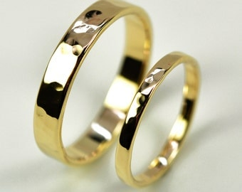 14K Yellow Gold Perfect Wedding Band Set, Hammered Texture, 2mm and 4mm, customizable, Sea Babe Jewelry